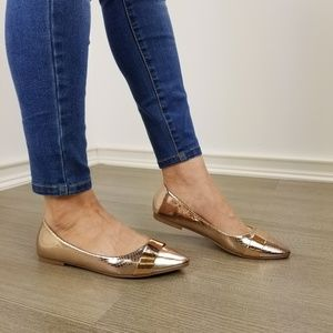 Shoes - Rode Gold Pointy Toe Slip On Flats -W